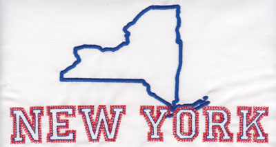 """Embroidery Design: New York Outline and Name4.26"""" x 7.97"""""""