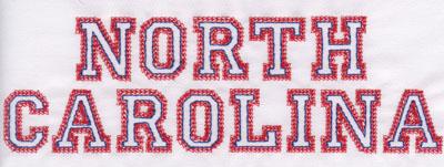 "Embroidery Design: North Carolina Name2.54"" x 7.99"""
