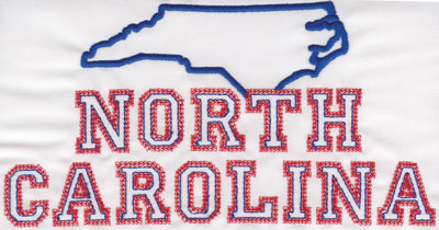 """Embroidery Design: North Carolina Outline and Name4.15"""" x 7.99"""""""