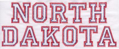 "Embroidery Design: North Dakota Name3.14"" x 7.98"""