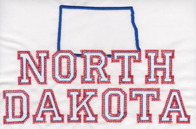 """Embroidery Design: North Dakota Outline and Name5.03"""" x 7.96"""""""