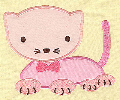 Embroidery Design: Pink Kitty appliques 5.77w X 4.74h