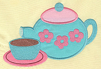 Embroidery Design: Tea Set appliques 6.72w X 4.50h