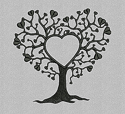 Embroidery Design: Tree with hearts 4.93w X 4.81h