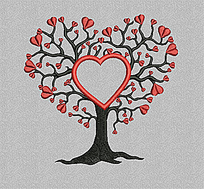 Embroidery Design: Tree with hearts and heart applique 4.93w X 4.80h
