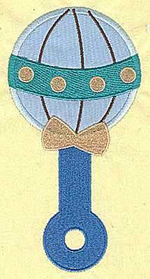 Embroidery Design: Baby Rattle applique  6.77w X 3.41h