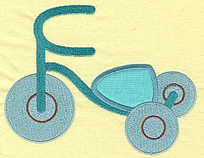 Embroidery Design: Tricycle applique 6.07w X 4.77h