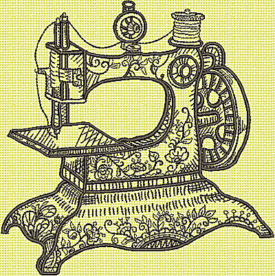 Embroidery Design: Antique Sewing Machine large 6.06w X 6.15h