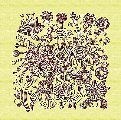 Embroidery Design: Stylized Florals A 7.63w X 7.81h