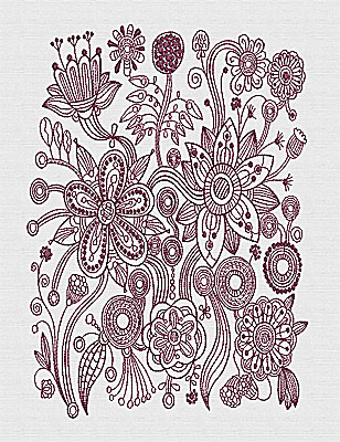 Embroidery Design: Stylized Florals B 10.69w X 7.63