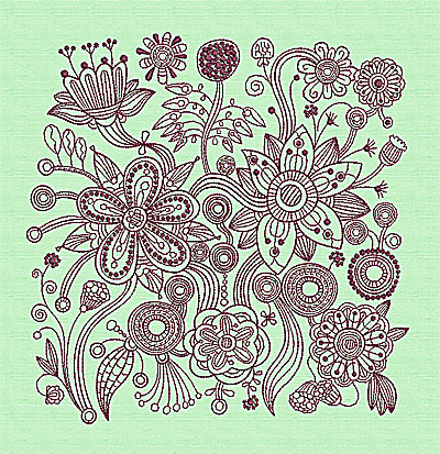 Embroidery Design: Stylized Florals C 9.25w X 9.44h