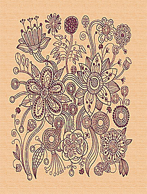 Embroidery Design: Stylized Florals D 12.63w X 9.25h