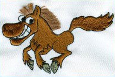 Embroidery Design: Horse cartoon 3.69w X 2.31h
