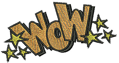 Embroidery Design: Wow 3.94w X 2.06h