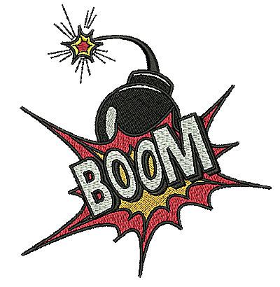 Embroidery Design: Boom 4.50w X 4.88h
