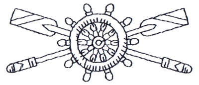 """Embroidery Design: Crossed Oars & Ship Wheel - Outline3.79"""" x 1.59"""""""