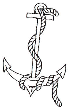 "Embroidery Design: Anchor & Rope - Outline2.06"" x 3.43"""