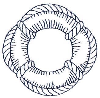 "Embroidery Design: Life Preserver - Outline2.95"" x 2.92"""