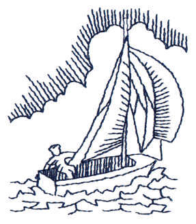 """Embroidery Design: Sailboat - Outline2.49"""" x 2.92"""""""