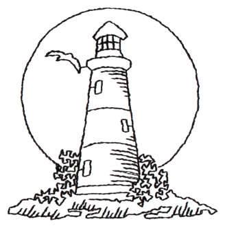 """Embroidery Design: Lighthouse Sunset - Outline2.94"""" x 2.95"""""""
