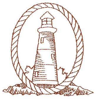 """Embroidery Design: Lighthouse & Rope Border - Outline3.00"""" x 3.04"""""""
