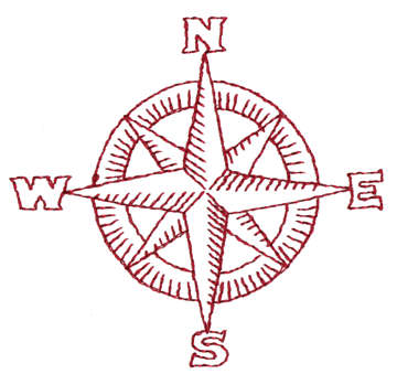 """Embroidery Design: Compass3.24"""" x 3.05"""""""