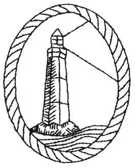 "Embroidery Design: Rope Framed Lighthouse - Outline2.36"" x 2.98"""