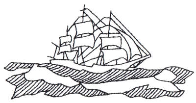 """Embroidery Design: Clipper Ship - Outline4.50"""" x 2.25"""""""
