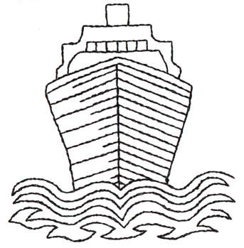 """Embroidery Design: Ship Breaking Waves - Outline3.07"""" x 3.18"""""""