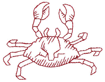 """Embroidery Design: Crab - Outline3.33"""" x 2.59"""""""