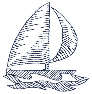 """Embroidery Design: Sailboat - Outline3.30"""" x 3.39"""""""