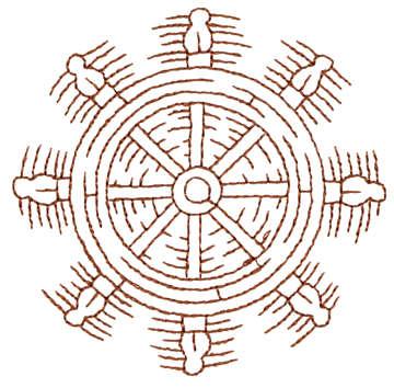 "Embroidery Design: Ship Wheel - Outline3.26"" x 3.20"""
