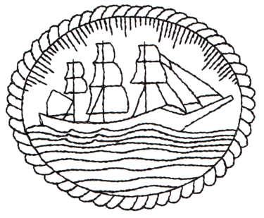 "Embroidery Design: Clipper Ship Framed - Outline3.38"" x 2.79"""