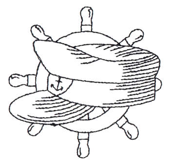 "Embroidery Design: Ship Wheel & Skipper's Hat - Outline3.03"" x 2.97"""