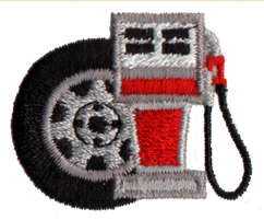 "Embroidery Design: Gas Pump1.39"" x 1.11"""