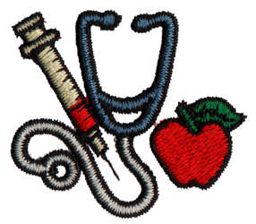 "Embroidery Design: Stethoscope/Syringe1.65"" x 1.45"""