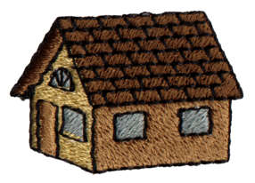 """Embroidery Design: Little House1.62"""" x 1.1"""""""