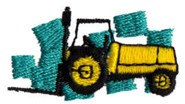 """Embroidery Design: Forklift1.52"""" x 0.82"""""""