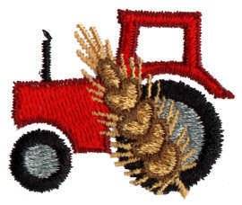 "Embroidery Design: Tractor with Wheat<br>1.56"" x 1.27"""