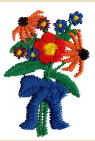 "Embroidery Design: Flower Bouquet1.09"" x 1.57"""