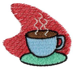 "Embroidery Design: Hot Coffee/Tea1.69"" x 1.55"""