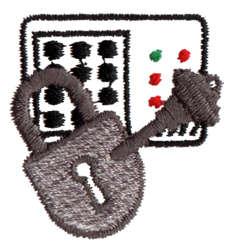 "Embroidery Design: Lock/Alarm1.34"" x 1.37"""