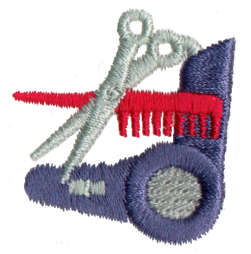 "Embroidery Design: Scissors, Blowdryer1.46"" x 1.35"""
