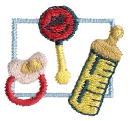 """Embroidery Design: Baby Things1.47"""" x 1.32"""""""