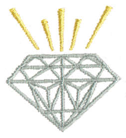 "Embroidery Design: Cut Diamond1.41"" x 1.51"""