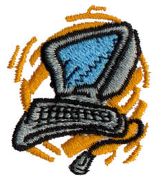 """Embroidery Design: Computer1.35"""" x 1.49"""""""