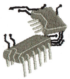 """Embroidery Design: Computer Chips1.32"""" x 1.49"""""""