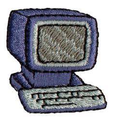"Embroidery Design: Fat Computer1.31"" x 1.33"""