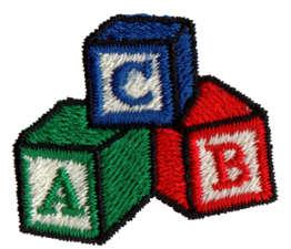 "Embroidery Design: Alphabet Blocks1.44"" x 1.26"""