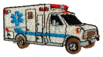 "Embroidery Design: Ambulance2.06"" x 1.09"""